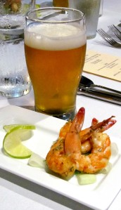 grilled Pacific prawns with chili/lime glaze, Oakshire Watershed IPA
