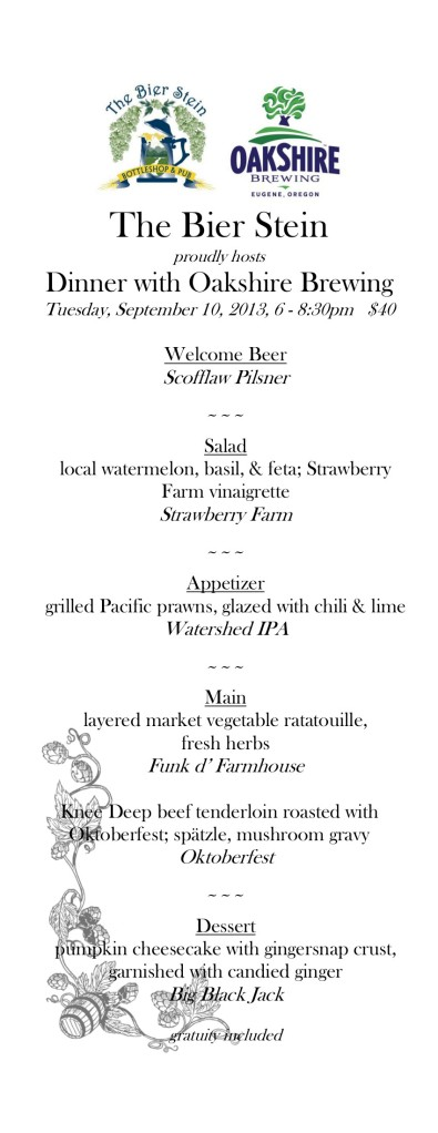 The menu from our dinner with Oakshire Brewing.