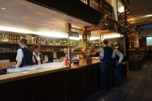 The bar at Gaffel. So many Stanges! Served from the big tanks to the right.